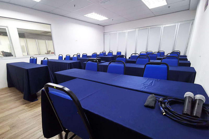 the office training room rental blue theme
